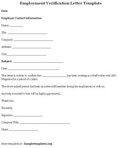 employment verification letter template employment verification letter template