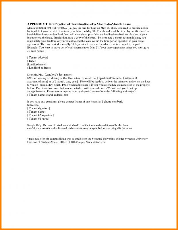 End Of Lease Letter Template Business
