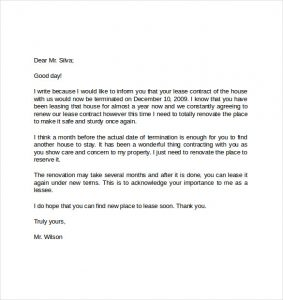 end of lease letter format of early lease termination letter