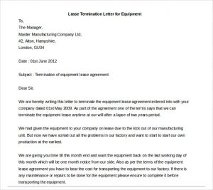 end of lease letter lease termination letter for equipment