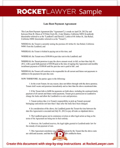 end of lease letter to tenant from landlord sample late rent payment agreement form template