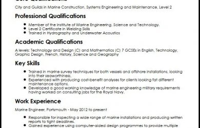 engineering skills resume marine engineer cv sample