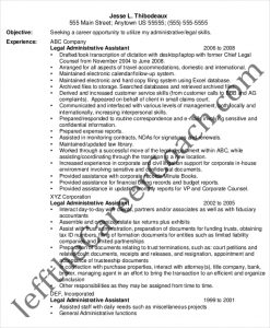 entry level administrative assistant resume entry level legal administrative assistant resume