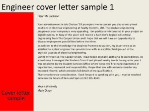 entry level cover letter sample engineer cover letter
