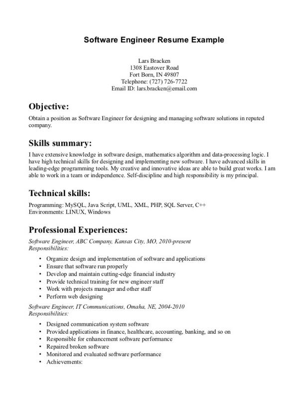 entry level software engineer resume - Sample Resume Entry Level Software Engineer
