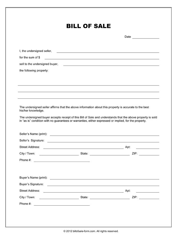 Equine Bill Of Sales  Template Business