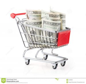 equipment bill of sale money shopping cart dollars white background