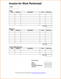 equipment bill of sale work invoice template