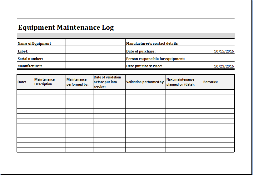equipment inventory template