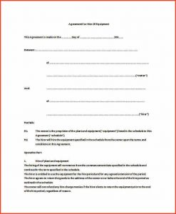 equipment rental agreement equipment rental agreement equipment hire agreement doc free download