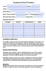 equipment rental agreement equipment rental agreement template