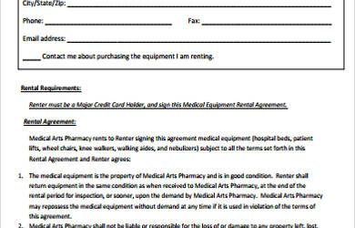 equipment rental agreement medical equipment rental agreement example