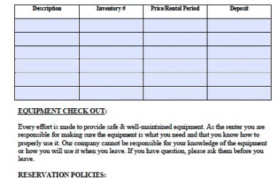 equipment rental contract equipment rental agreement template