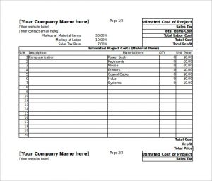 estimate template excel project estimate spreadsheet template excel free editable