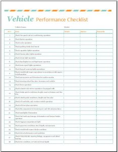 estimate template word vehicle performance checklist template