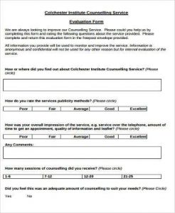 evaluation form template counselling service evaluation form