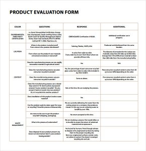evaluation form template product evaluation pdf
