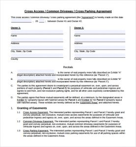 event contract template cross parking agreement template