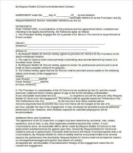 event contract template resident dj contract sample