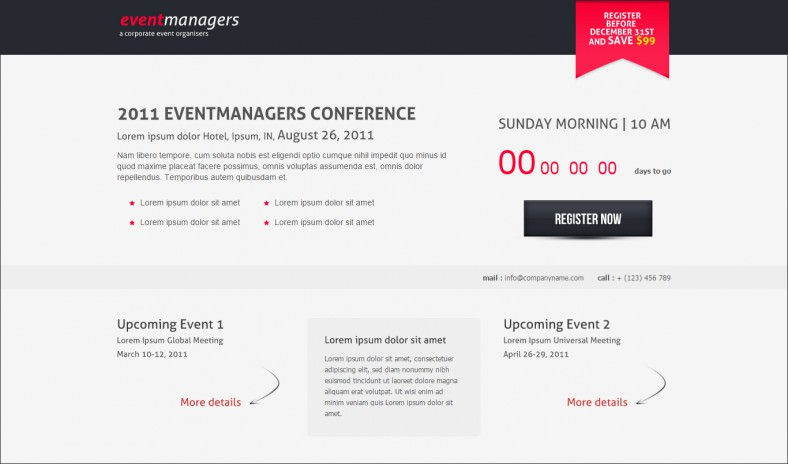 event landing page