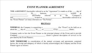 event planner contract event planner contract agreement