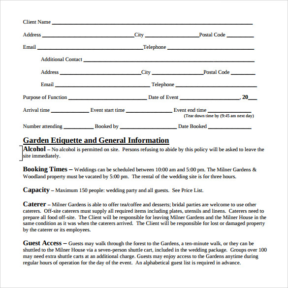 event planner contract