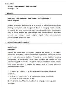 event planner resume event planner resume template
