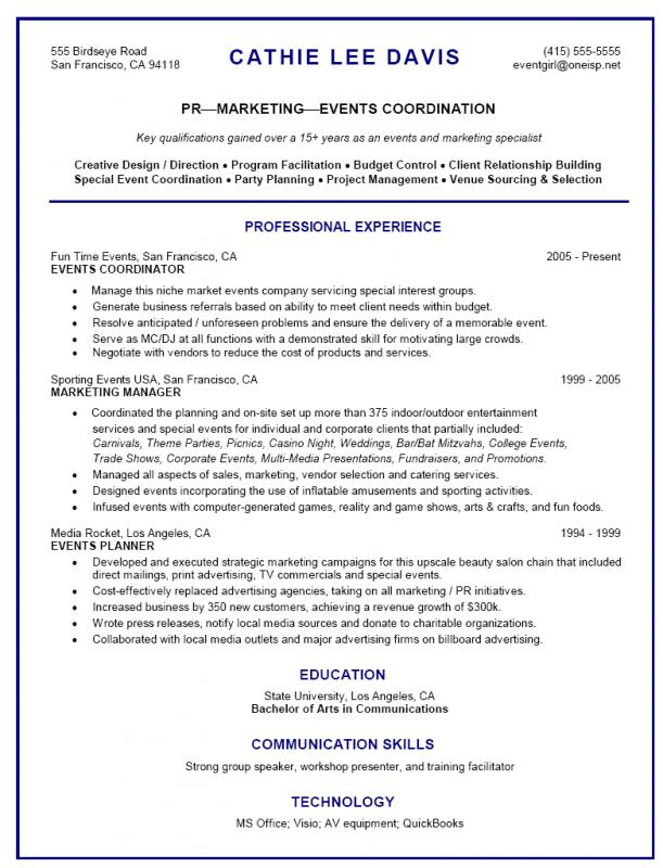 Event Planner Resume  Template Business