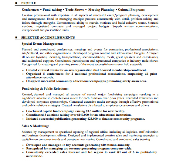 Event Planner Resume Template Sle. Event Planner Resume. Resume. Meeting Planner Resume At Quickblog.org