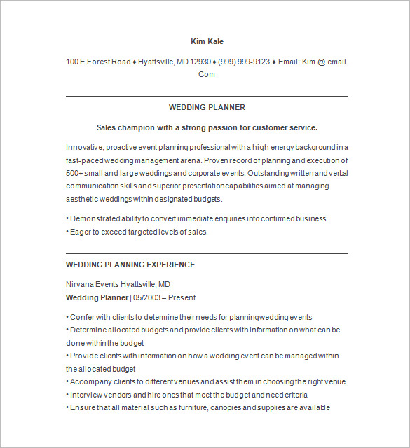 Event Planner Resume | Template Business