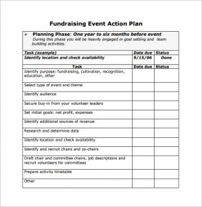 event planning template fundraising event action planning free download in pdf