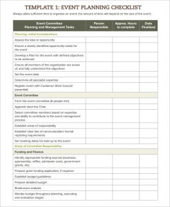 event planning template template event planning checklist