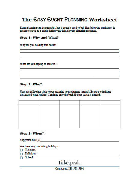 event planning worksheet