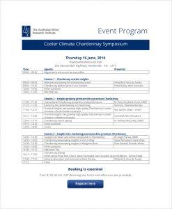 event program template chardonnay event program
