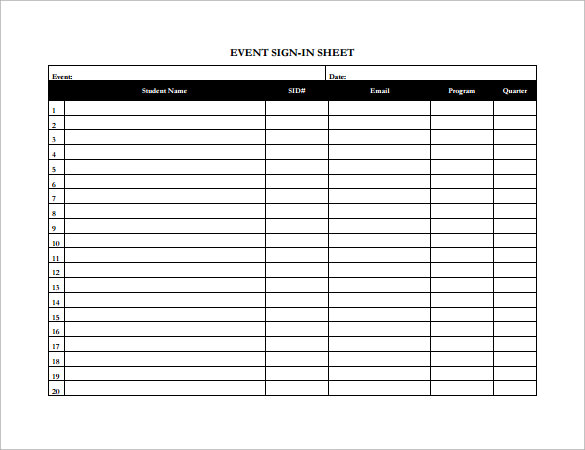 event sign in sheet