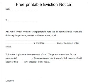 eviction letter template free printable eviction notice template