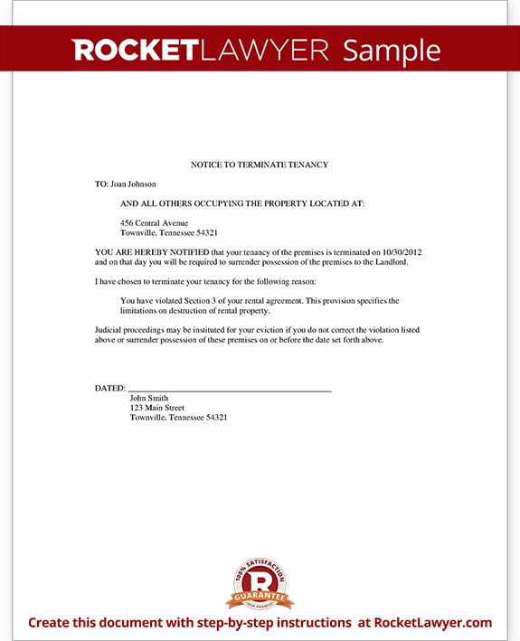 eviction letter template