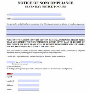 eviction notice florida florida day notice to cure noncompliance x