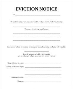 eviction notice form blank eviction notice form