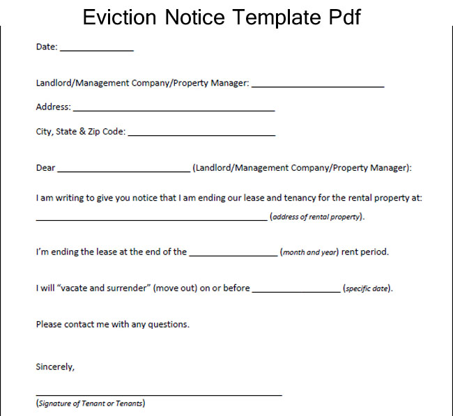 Eviction Notice Form  Template Business