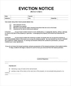 eviction notice form tenant eviction notice form