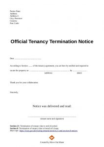 eviction notice sample end of tenancy letter template from landlord to tenant