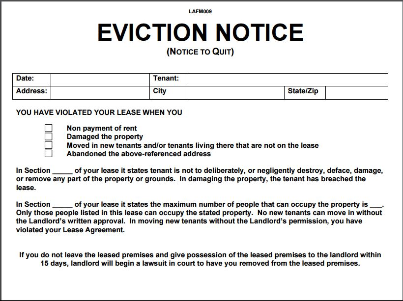 sample eviction notice