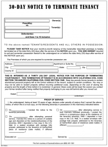 eviction notice texas california day notice to terminate tenancy