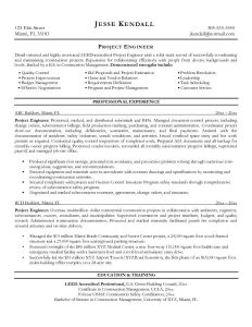 example engineering resume free construction project engineer resume example