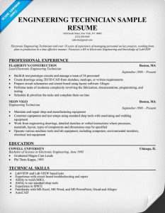 example engineering resume engineering technician sample resume