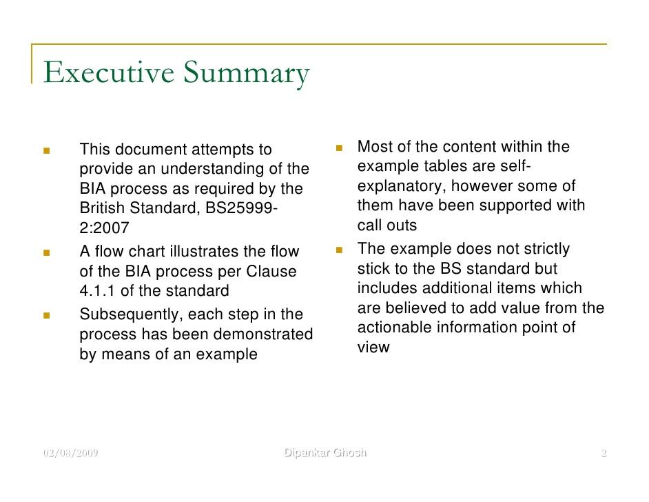 executive summary example business