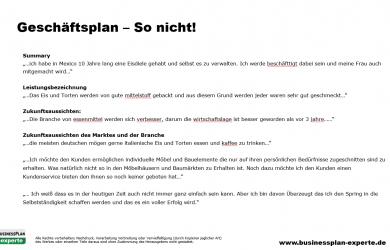 example executive summary geschaeftsplan so nicht fehler