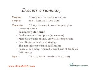 examples of executive summary of a business plan