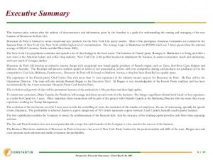 example executive summary template financial plan new business